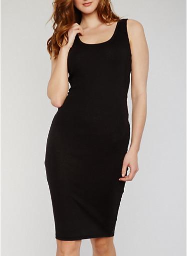 Midi Rib Knit Sleeveless Bodycon Dress,BLACK,large