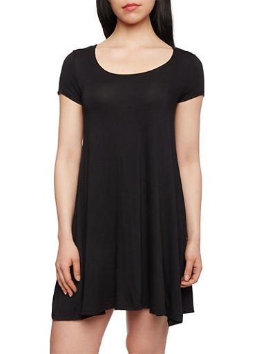 Solid Jersey T-Shirt Dress,BLACK,large