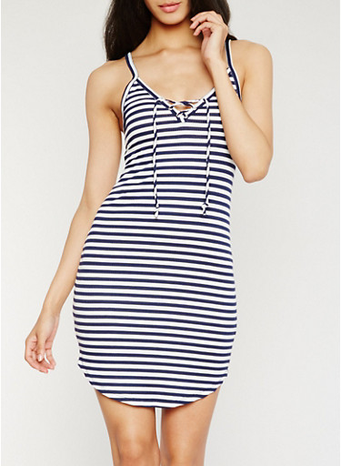Striped Lace Up Cami Dress,NAVY,large