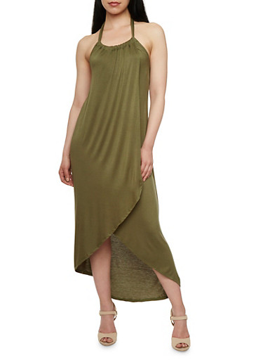 Wrap Maxi Dress with Tulip Bottom,OLIVE,large