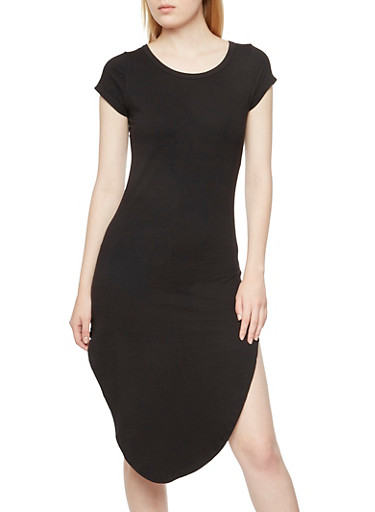 Solid Midi T-Shirt Dress with Vented Sides,BLACK,large