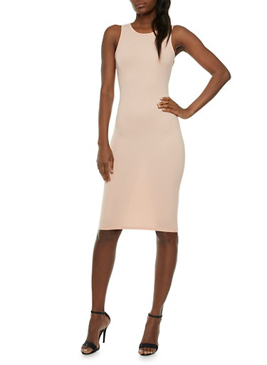 Textural Bodycon Dress with Cross-Over Back Straps,MAUVE,large