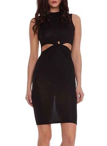 Bodycon Dress with Cutouts at Waist,BLACK,large