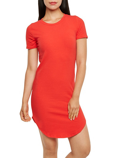 Solid Short Sleeve T-Shirt Dress with Crew Neck,RED,large