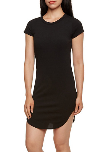 Solid Textured Knit Mini Dress,BLACK,large