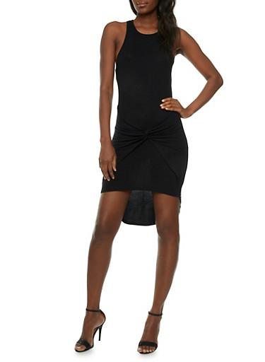 Rib-Knit Mini Dress with Gathered Waist Accent,BLACK,large