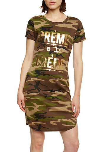 Camo Print T-Shirt Dress with Crème de la Crème Graphic,OLIVE,large