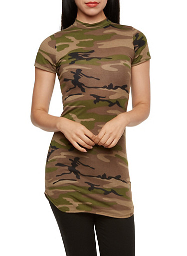 Camo Tunic Top with Mock Neck,OLIVE,large