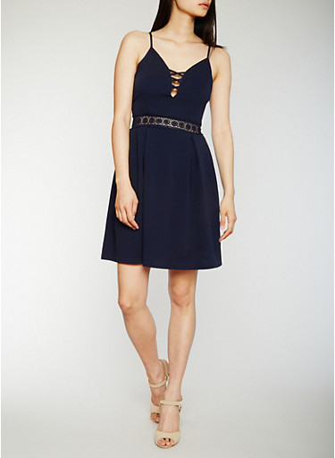 Sleeveless Caged Neck Skater Dress with Crochet Detail,NAVY,large