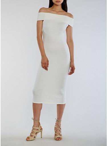 Off the Shoulder Bandage Dress,IVORY,large