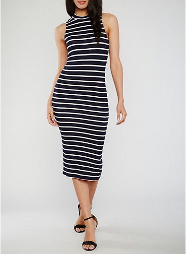Sleeveless Striped Mock Neck Midi Dress,NAVY/WHITE,large