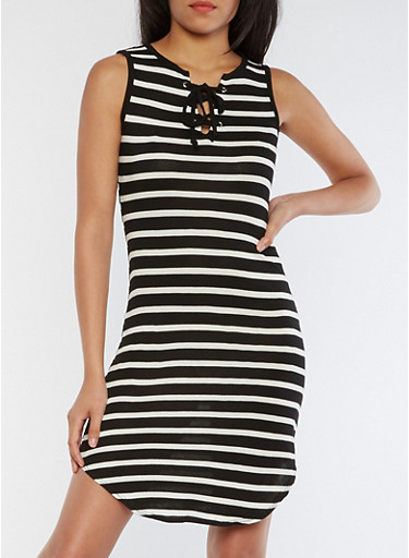 Striped Lace Up Rounded Hem Tank Dress,BLACK/WHITE,large