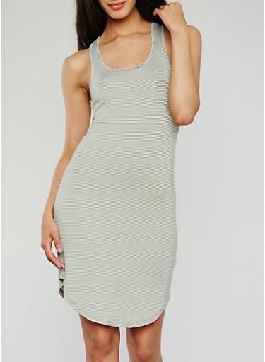 Striped Racerback Tank Dress,OLIVE/WHITE,large