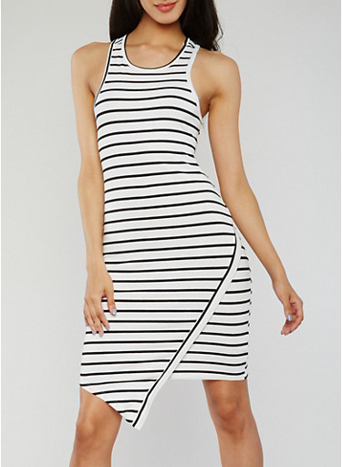 Striped Asymmetrical Racerback Tank Dress,BLACK/WHITE,large