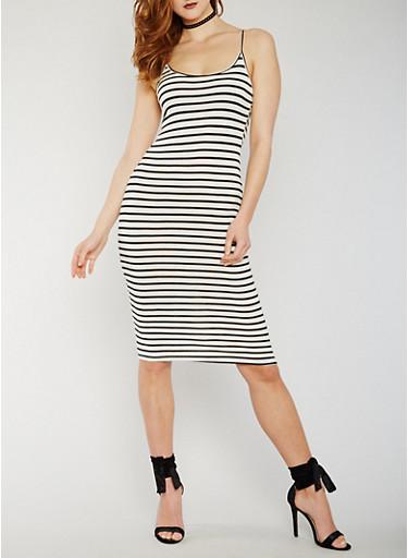 Striped Mid Length Tank Dress,WHT-BLK,large