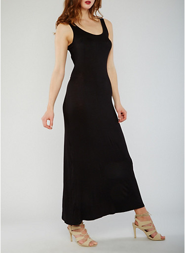 Sleeveless Caged Back Maxi Dress,BLACK,large