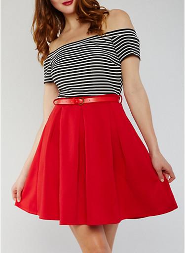 Off the Shoulder Striped Skater Dress with Belt,BLACK/WHITE/RED,large