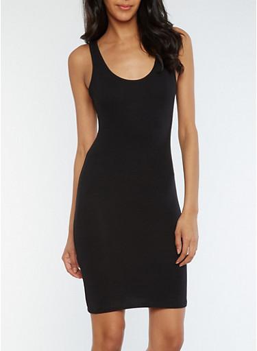 Solid Bodycon Tank Dress,BLACK,large