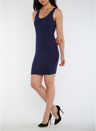 Solid Bodycon Tank Dress,NAVY,large
