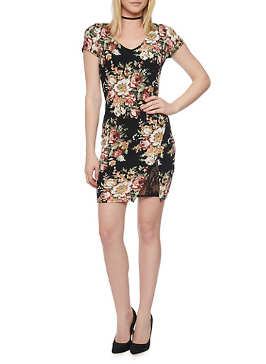 Short Sleeve Floral Bodycon Dress with Faux Wrap Front and Lace Slit Detail,BLACK-ROSE,large