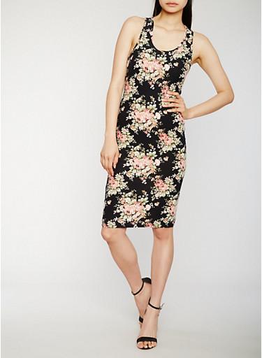 Floral Racerback Midi Dress,BLACK/DUSTY ROSE,large