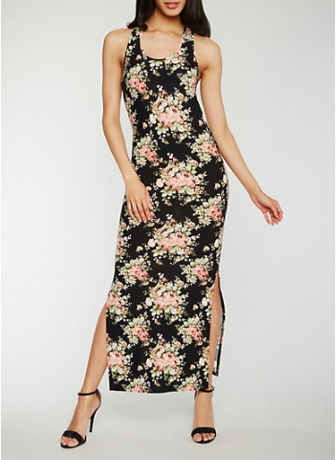 Floral Racerback Maxi Dress,BLACK,large