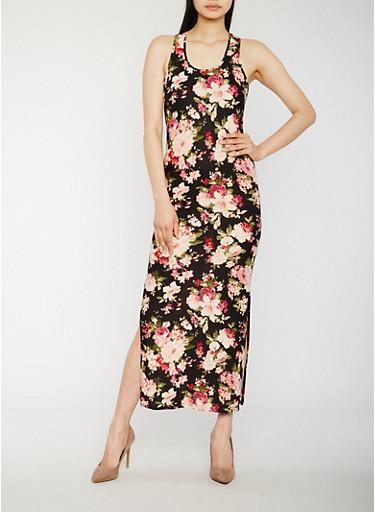Floral Sleeveless Racerback Maxi Dress,BLACK,large