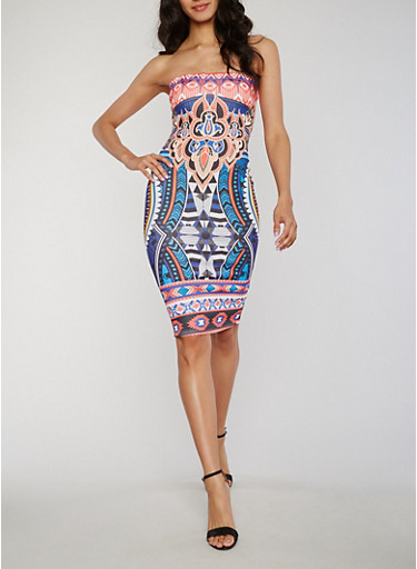 Sleeveless Printed Mid Length Bodycon Dress,MULTI/BLUE,large