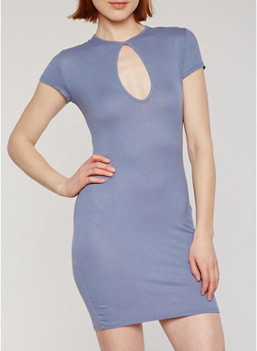 Short Sleeve Rib Knit T Shirt Dress with Keyhole,INDIGO,large