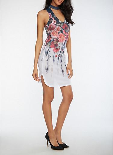 Floral Mesh Keyhole Neck Bodycon Dress,WHITE MULTI,large