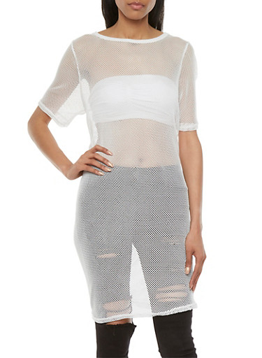 Sheer Mesh Tunic Top with Short Sleeves,WHITE,large