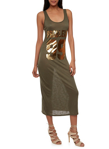 Tank Dress with 99 Problems Graphic,OLIVE/GOLD,large