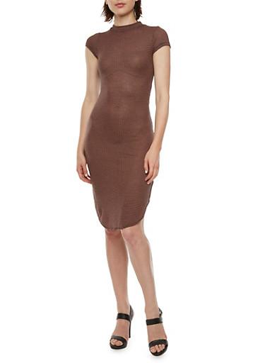 Ribbed Dress with Shirttail Hem,MAUVE/BLACK,large