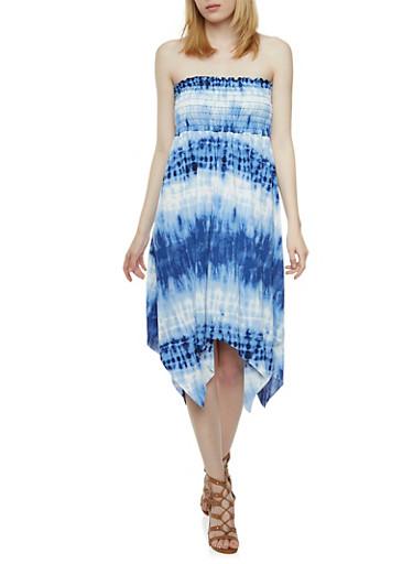 Smocked Tube Dress with Tie-Dye Print and Sharkbite Hem,BLUE,large