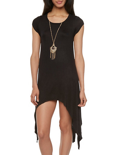 Jersey Dress with Asymmetrical Hem and Removable Necklace,BLACK,large