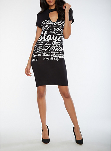Text Graphic Choker Neck Dress,BLACK/WHITE,large