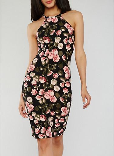 Floral Halter Neck Midi Dress,BLACK,large