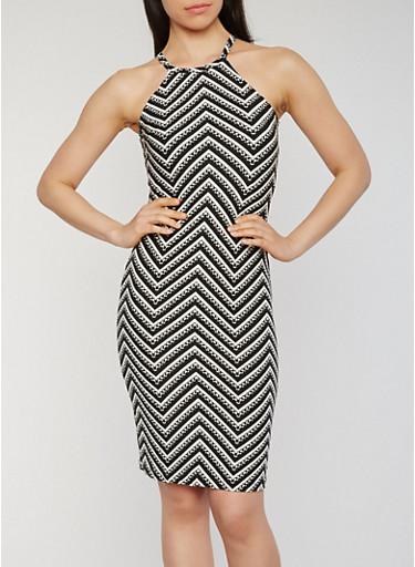 Halter Neck Chevron Print Bodycon Dress,BLACK/WHITE,large