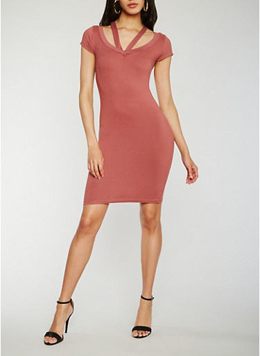 Strappy Short Sleeve V Neck Bodycon Dress,WINE,large