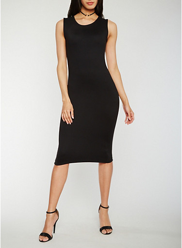 Sleeveless Scoop Neck Bodycon Dress,BLACK,large