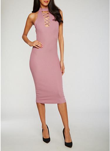 Rib Knit Caged Halter Dress,MAUVE,large