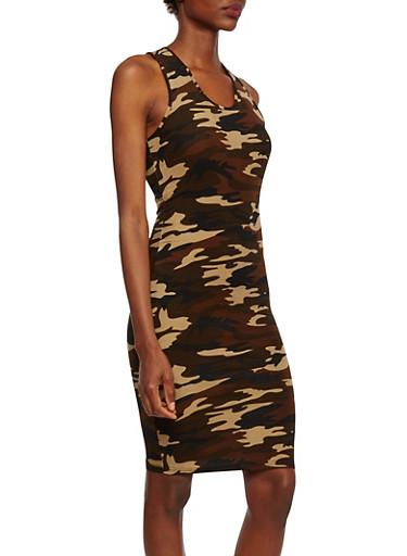 Camo Sleeveless Dress with Racerback Paneling,OLIVE,large