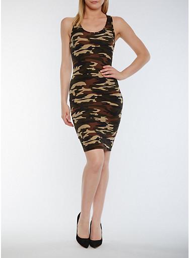 Camouflage Racerback Tank Dress,OLIVE,large