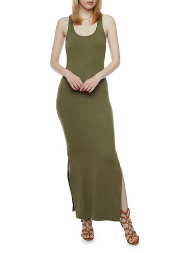 Maxi Dress with Macrame Racerback and Side Slit,OLIVE,large