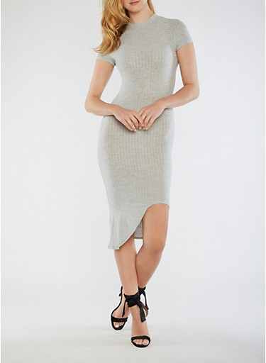 Ribbed Knit Mock Neck Dress,GRAY,large