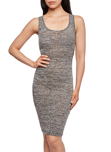 Marled Bodycon Dress with Scoop Neck,BLACK,large
