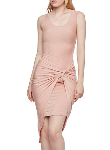 Bodycon Dress with Twist Front and High-Low Hem,BLUSH,large
