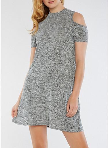 Cold Shoulder Marled Sweater Dress,GRAY,large