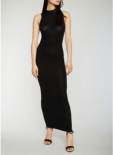 Sleeveless Rib Knit Mock Neck Maxi Dress,BLACK,large