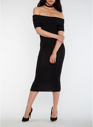 Off the Shoulder Rib Knit Midi Dress,BLACK,large